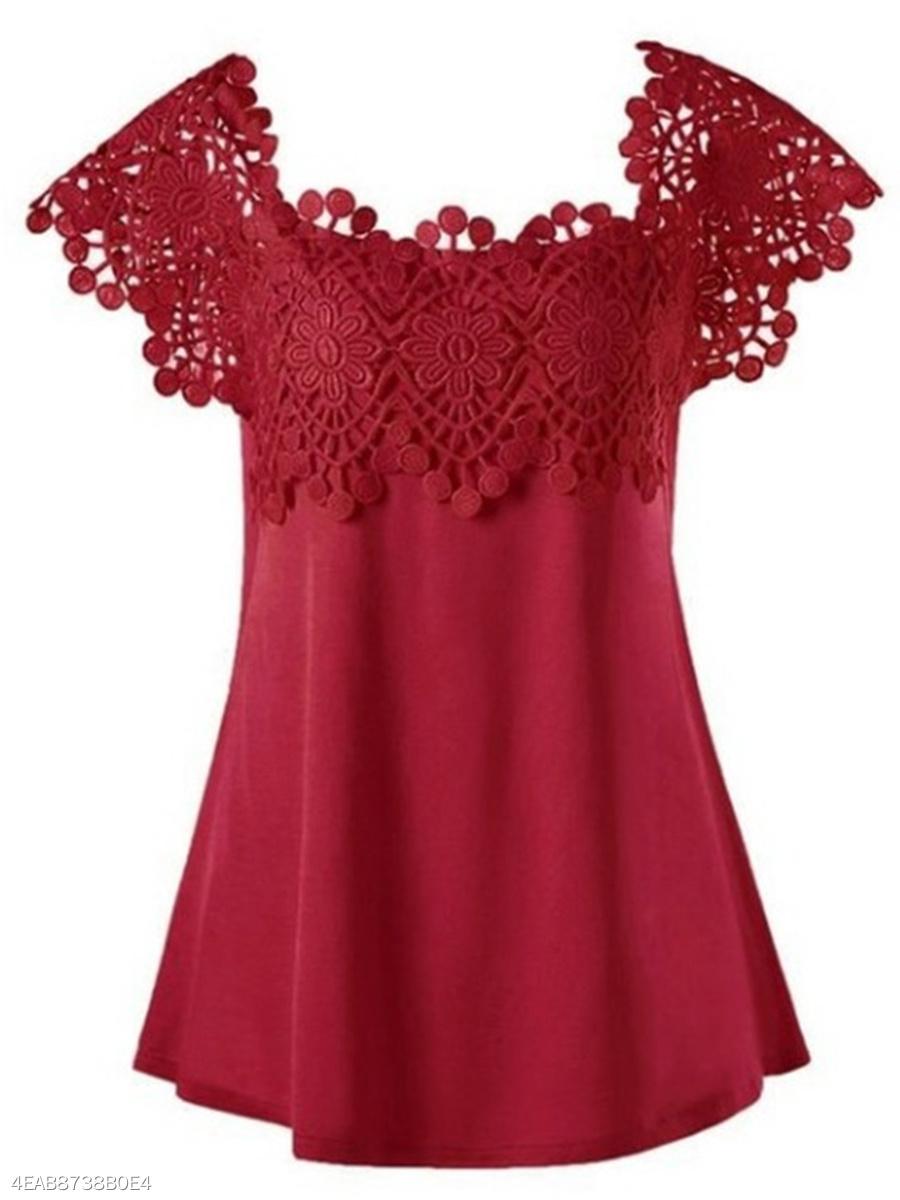 9ee9b9daba4 Round Neck Patchwork Lace Plain Short Sleeve T-Shirts - fashionMia.com