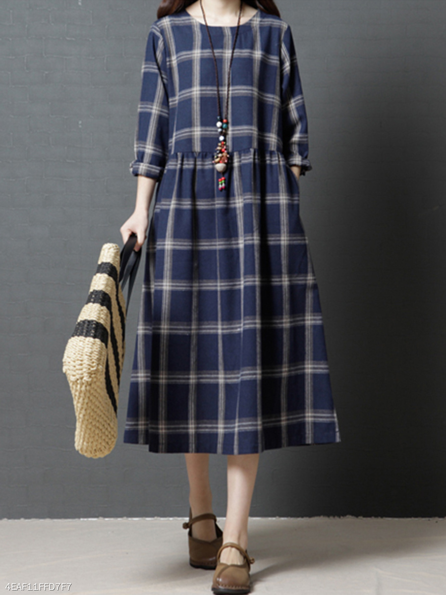Round Neck  Plaid Maxi Dress
