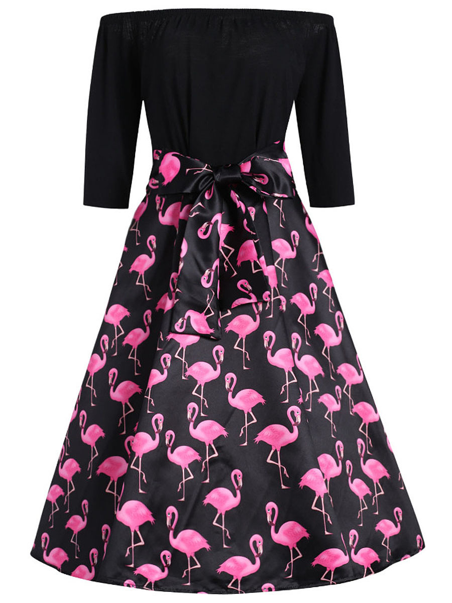 Vintage Flamingo Printed Off Shoulder Bowknot Skater Dress