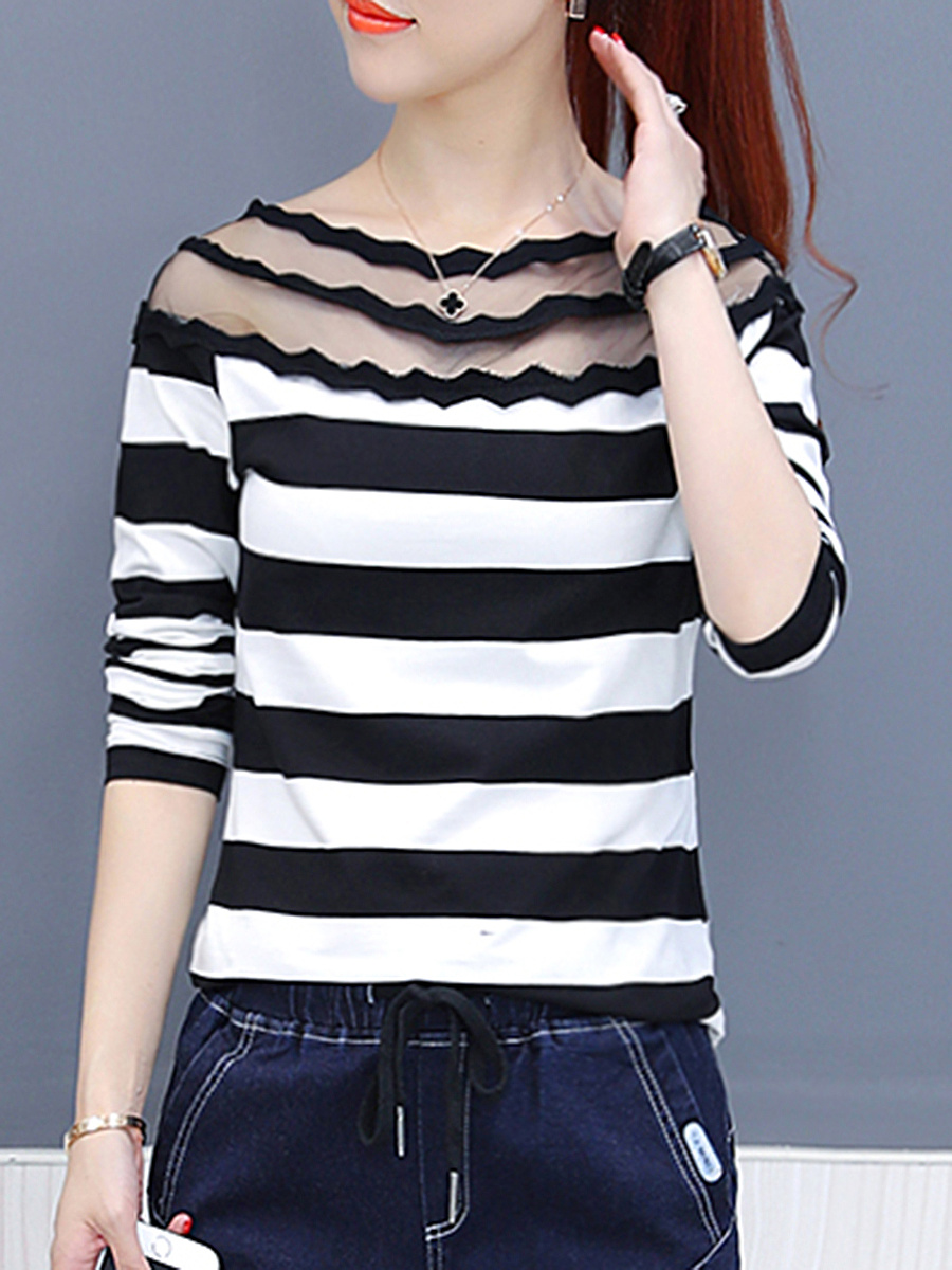 Boat Neck Striped See-Through Blouse