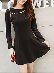 Round Neck Cutout Plain Mini Skater Dress
