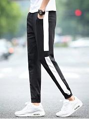 Elastic-Waist-Color-Block-Slim-Leg-Mens-Casual-Pants