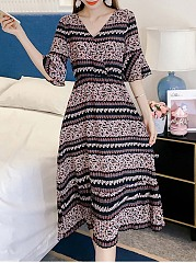 V-Neck Bell Sleeve Printed Striped Elastic Waist Skater Dress