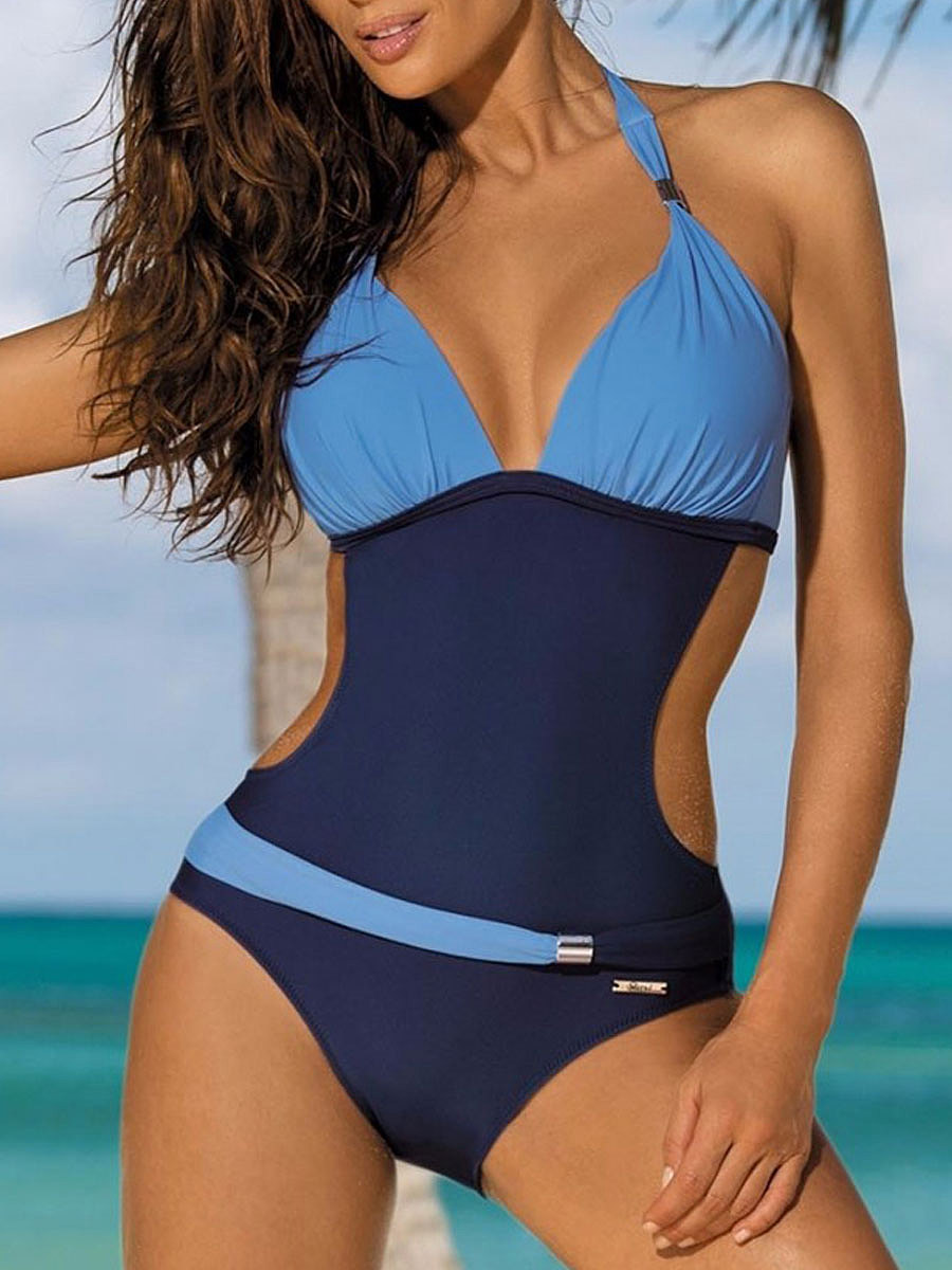 Lightweight  High Stretch  Color Block One Piece