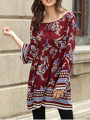 Round Neck  Elastic Waist  Printed  Chiffon Shift Dress