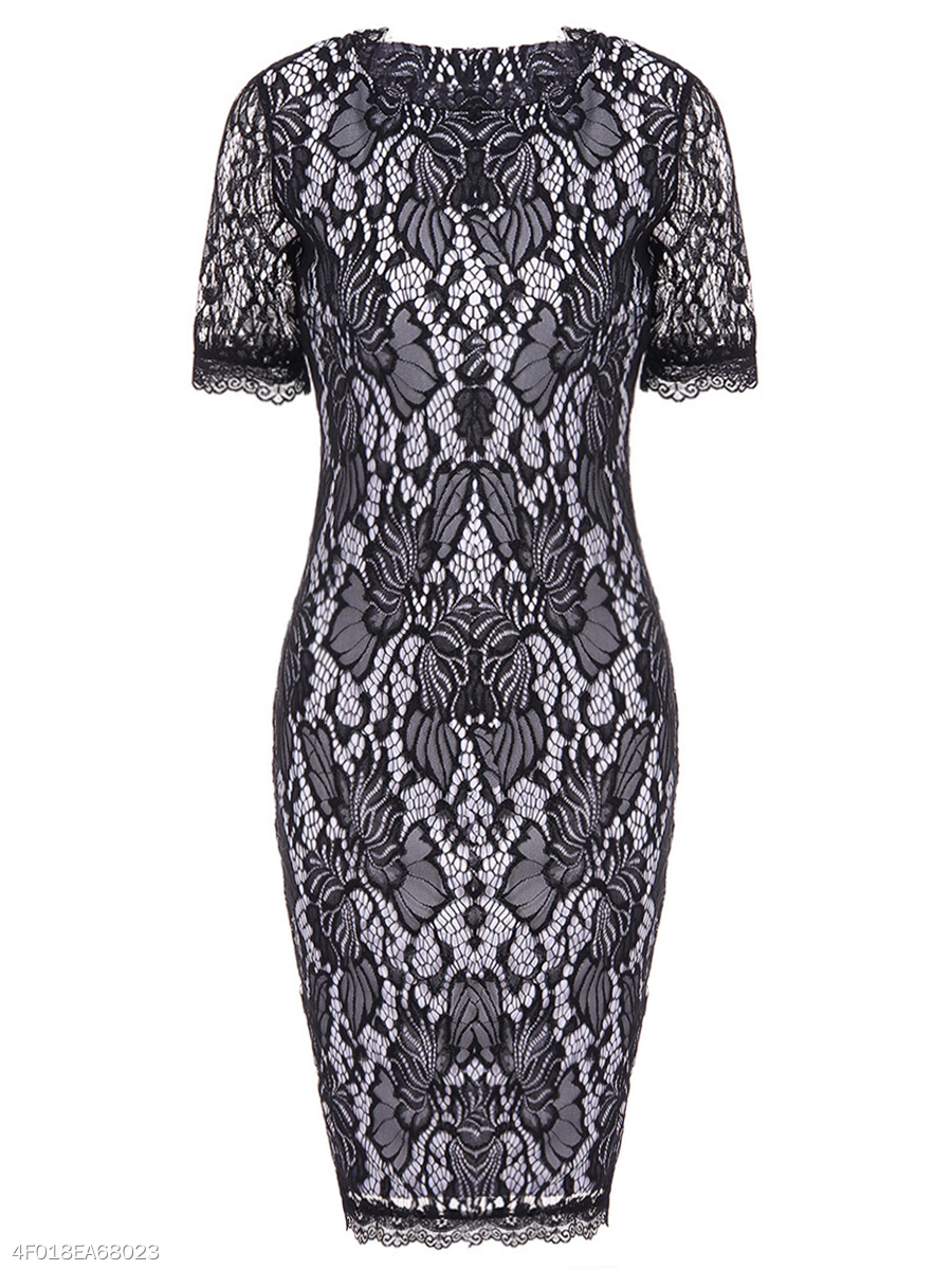 Ladylike Round Neck Hollow Out Lace Bodycon Dress