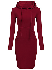 Hooded  Draped Pocket  Plain Bodycon Dress