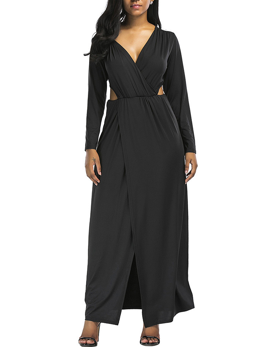 Deep V-Neck Cutout High Slit Plain Maxi Dress