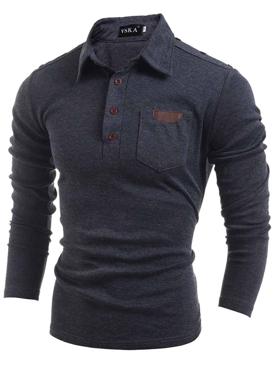 Polo Collar Men Patch Pocket T-Shirt