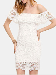 Sexy Lace Off Shoulder Flounce Solid Bodycon Dress