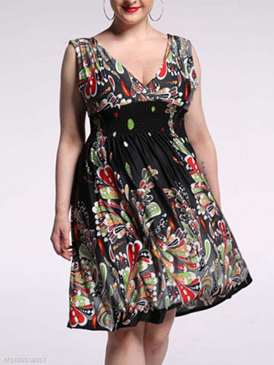 Extraordinary Deep V-Neck Printed Empire Plus Size Flared Dress