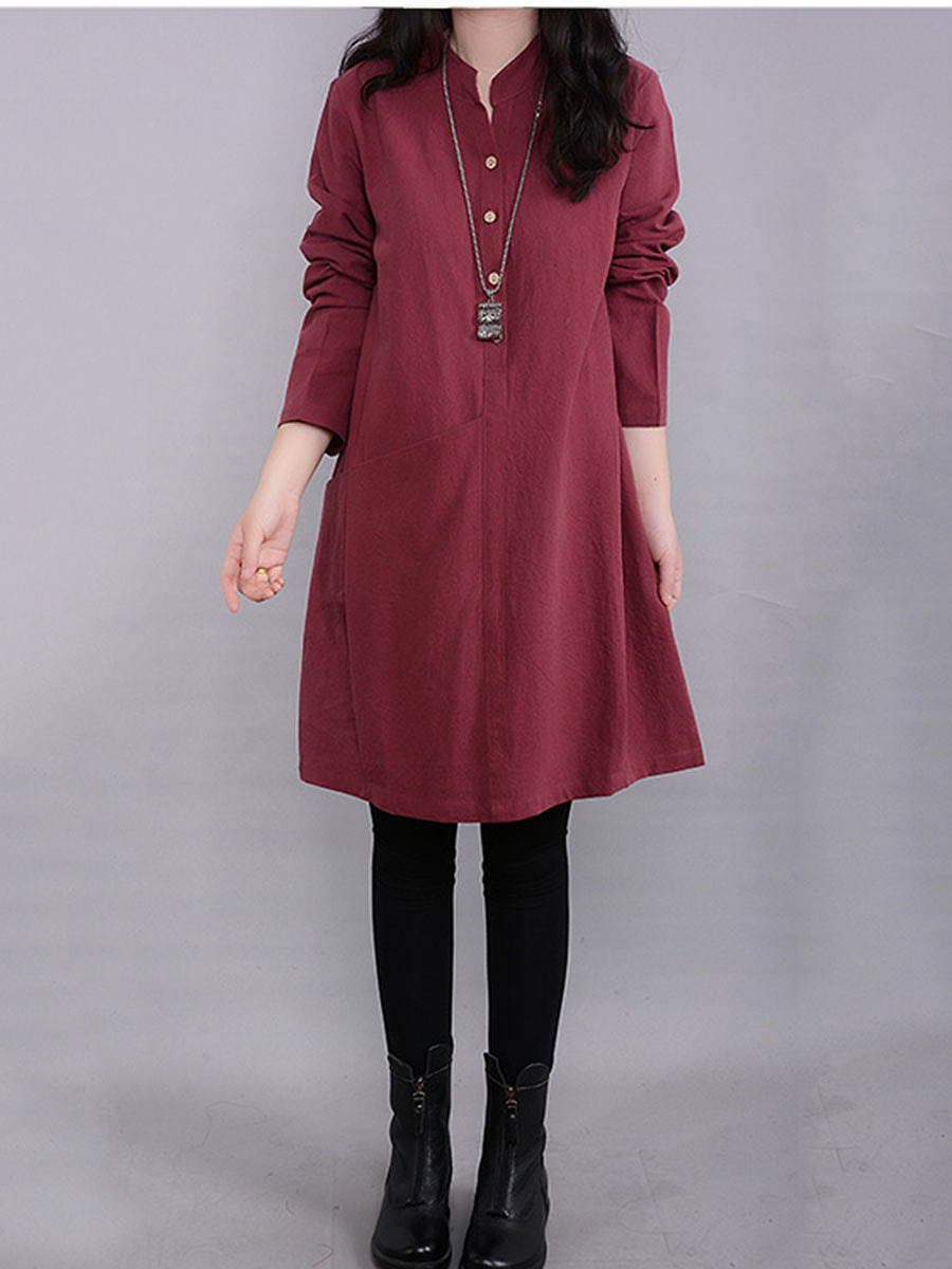 Split Neck Plain Pocket Shift Dress
