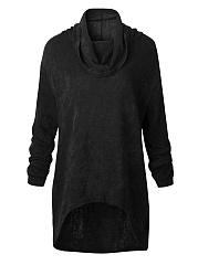 Cowl Neck Plain High-Low Sweater
