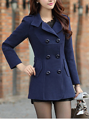 Lapel Plain Double Breasted Flap Pocket Woolen Coat