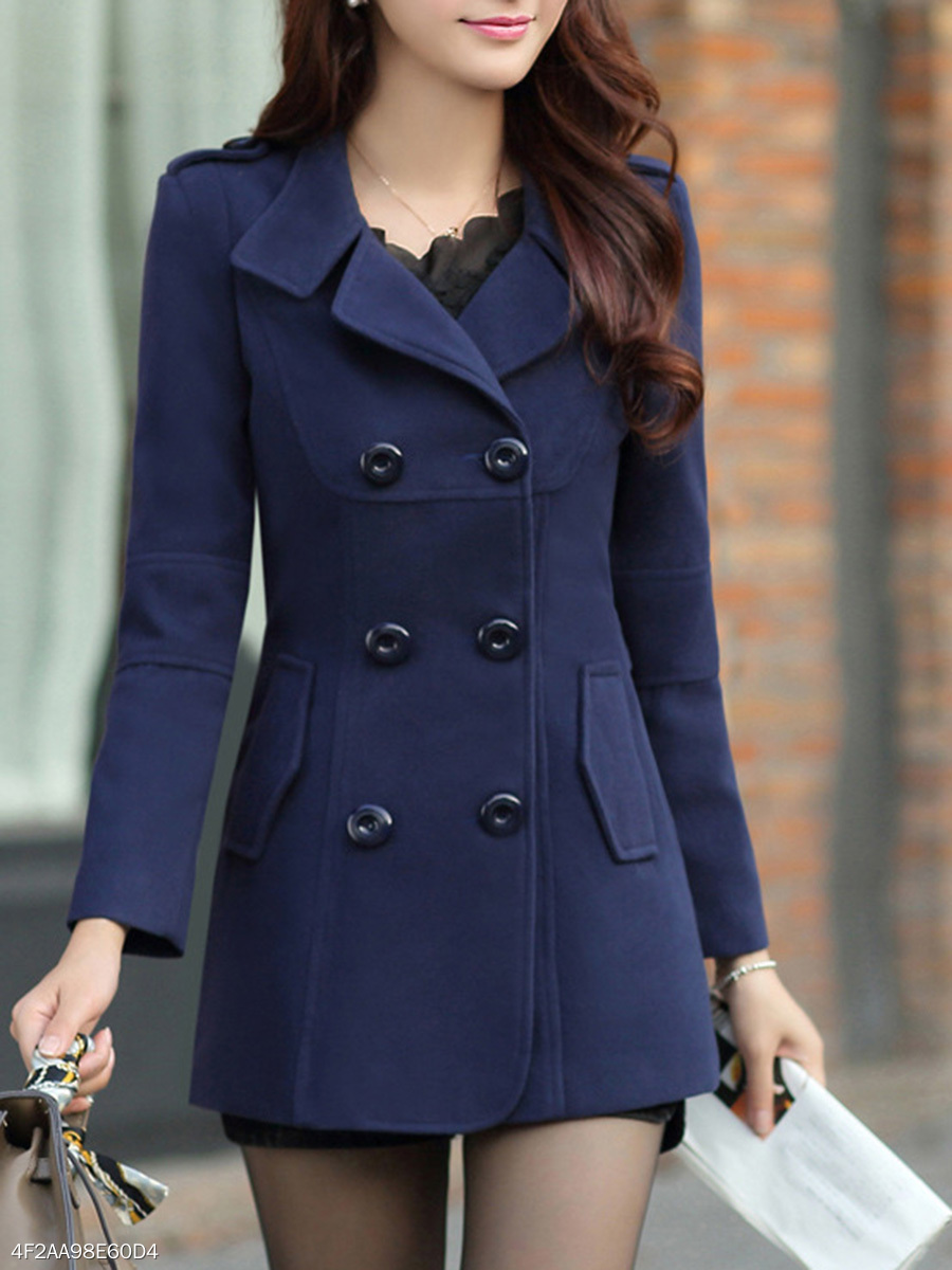 Lapel  Double Breasted Flap Pocket  Plain  Long Sleeve Coats