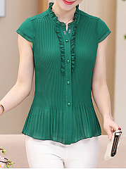 Summer  Polyester  Women  V-Neck  Single Breasted  Decorative Button  Plain  Extra Short Sleeve Blouses
