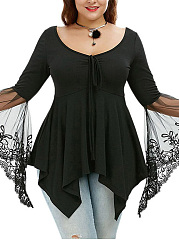 Asymmetric Hem Plain See-Through Bell Sleeve Plus Size T-Shirt