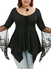 Asymmetric-Hem-Plain-See-Through-Bell-Sleeve-Plus-Size-T-Shirt