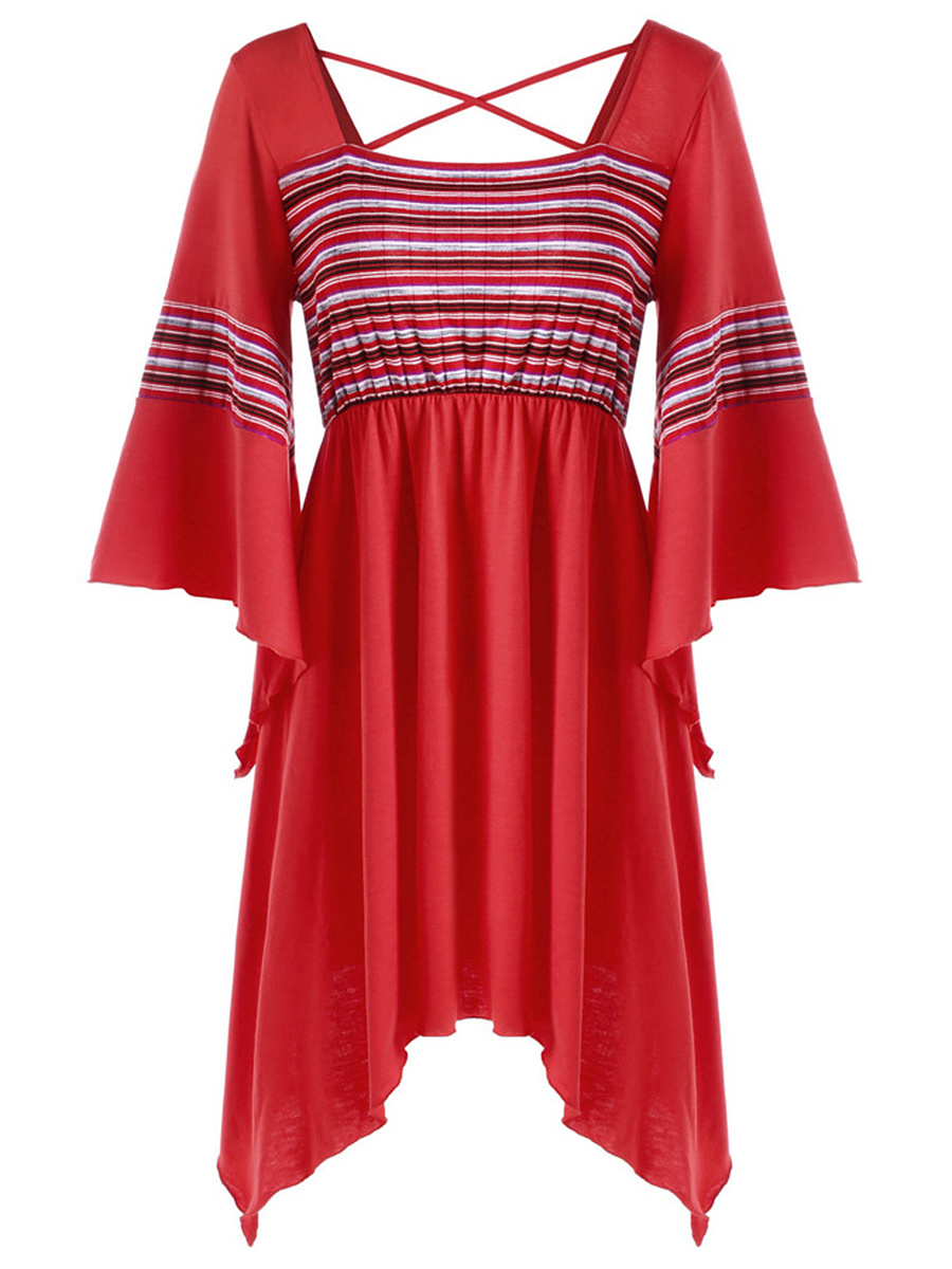 Square Neck Striped Asymmetric Hem Bell Sleeve T-Shirt