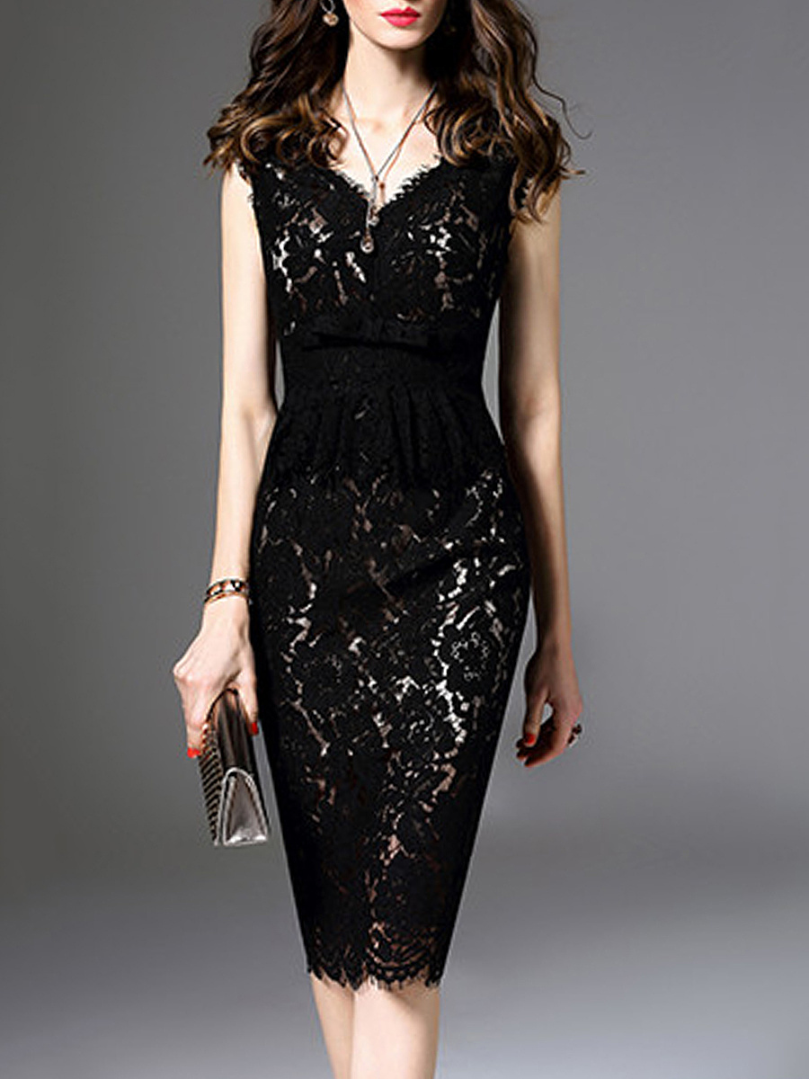 V-Neck Lace Sleeveless Bodycon Dress