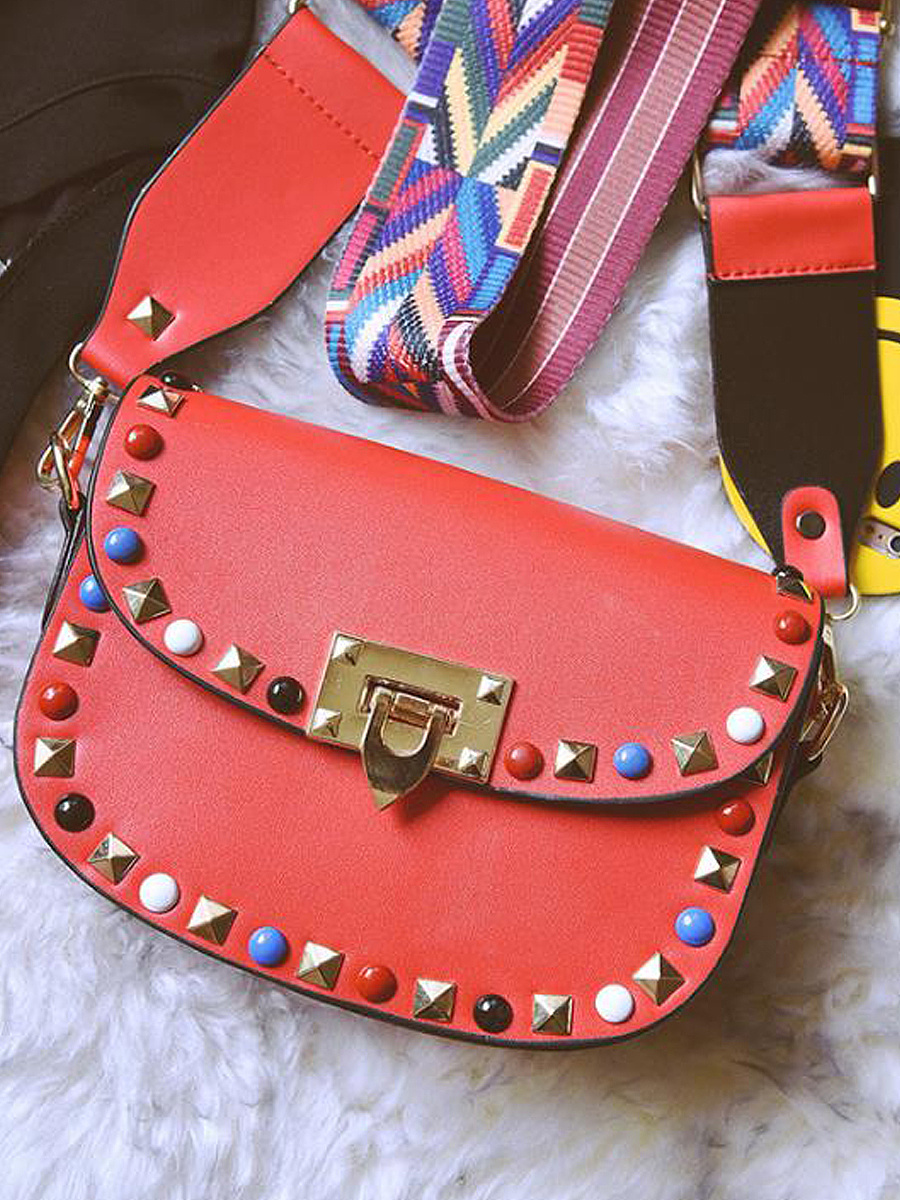New Fashion Colour Strap Beading Crossbody Bag