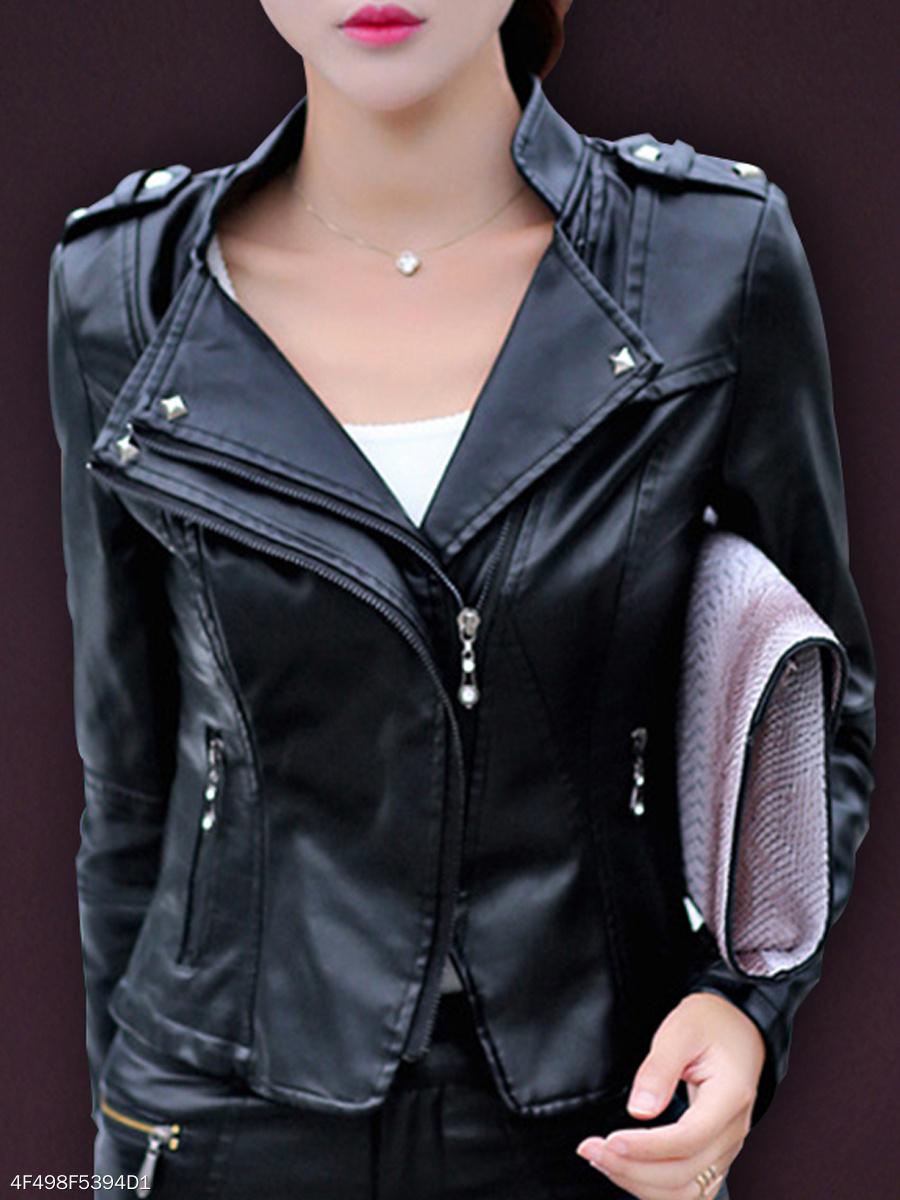 Band Collar  Zips  Plain  Long Sleeve Jackets