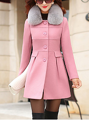 Detachable Faux Fur Collar Single Breasted Plain Woolen Coat