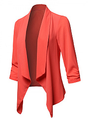 Fold-Over Collar  Asymmetric Hem  Plain  Long Sleeve Blazers