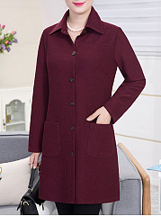 Lapel Patch Pocket Single Breasted Plain Coat
