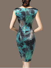 Graceful Round Neck Printed Bodycon Dress