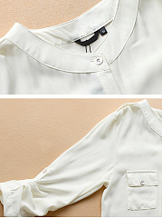 Spring Summer  Polyester  Women  Round Neck  Patch Pocket Single Breasted  Plain  Three-Quarter Sleeve Blouses