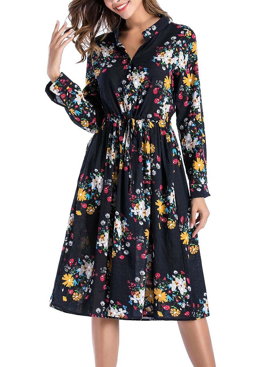 Split Neck Floral Printed Pocket Skater Dress