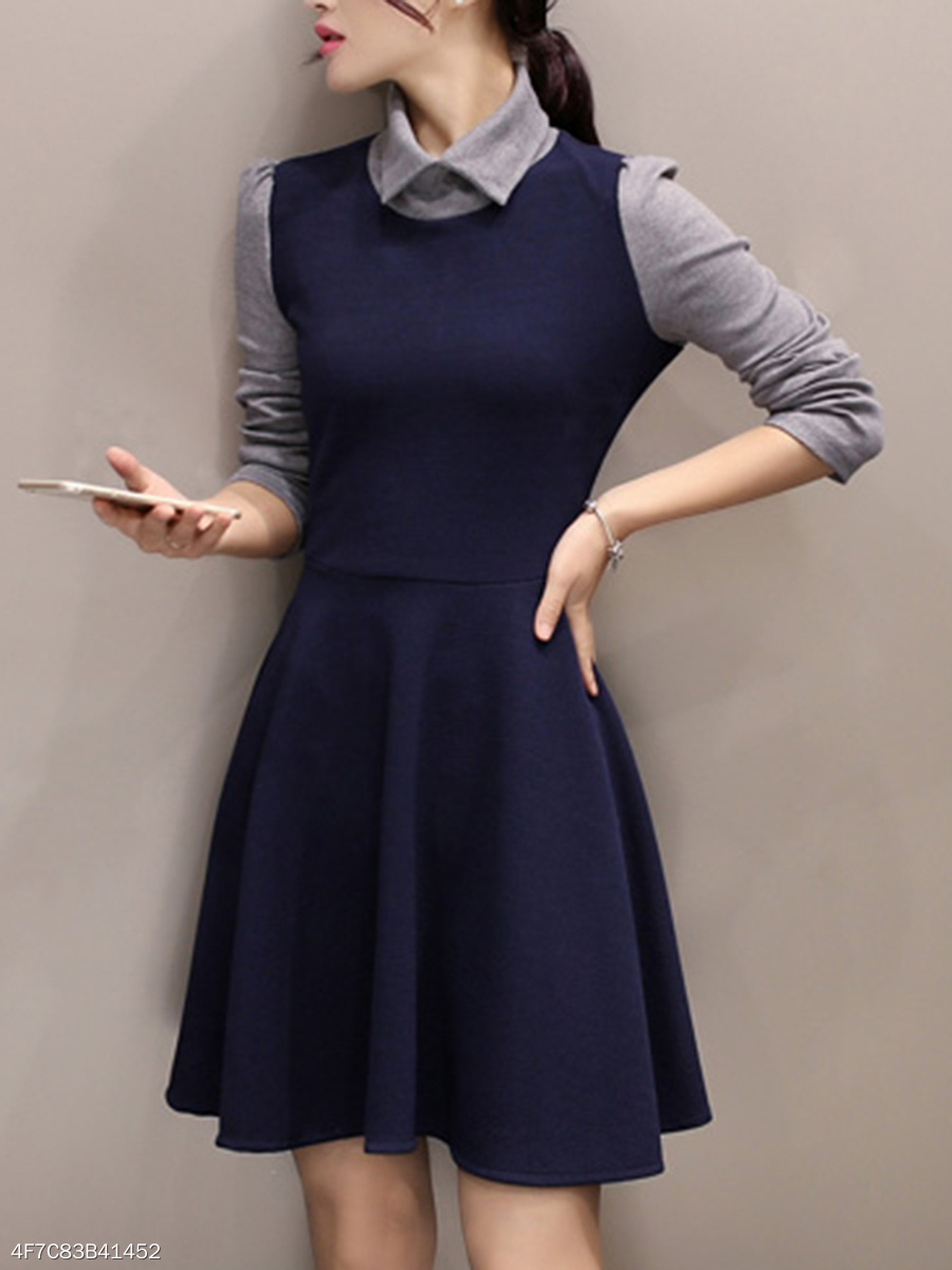Doll Collar  Plain Skater Dress