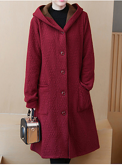 Hooded  Single Breasted  Plain  Long Sleeve Coats