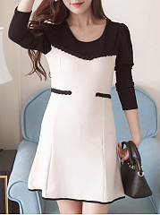 Round Neck  Contrast Trim Patchwork  Fake Two-Piece Fishtail Hem  Color Block Plain Skater Dress