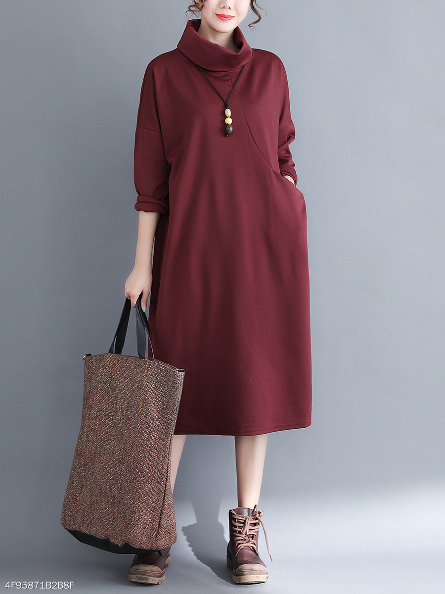 Round Neck Casual Plain Maxi Dress