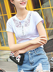Summer  Cotton  Women  Round Neck  Decorative Lace  Animal Printed Short Sleeve T-Shirts