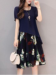 Excellent Floral Printed Chiffon Shift Dress