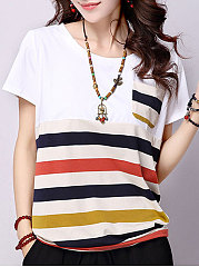 Summer  Polyester  Women  Round Neck  Striped Short Sleeve T-Shirts
