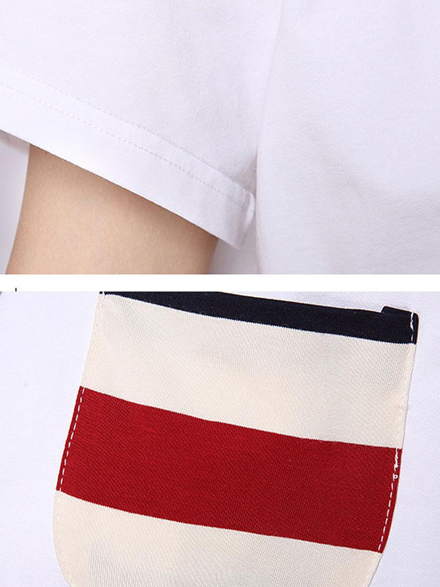 Summer  Polyester  Women  Round Neck  Striped Short Sleeve T-Shirts