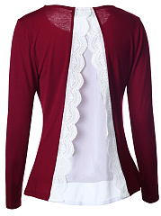 Color Block Decorative Lace Long Sleeve T-Shirt