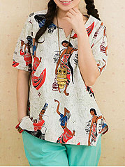 Spring-Summer-Cotton-Women-Sweet-Heart-Asymmetric-Hem-Floral-Printed-Short-Sleeve-T-Shirts
