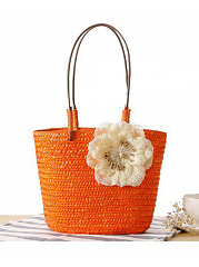Straw Large Capacity Floral Beach Bag