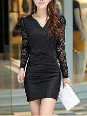 Split Neck Ruched Hollow Out Plain Bodycon Dress