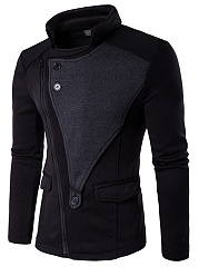 Band-Collar-Vented-Zips-Plain-Men-Coat