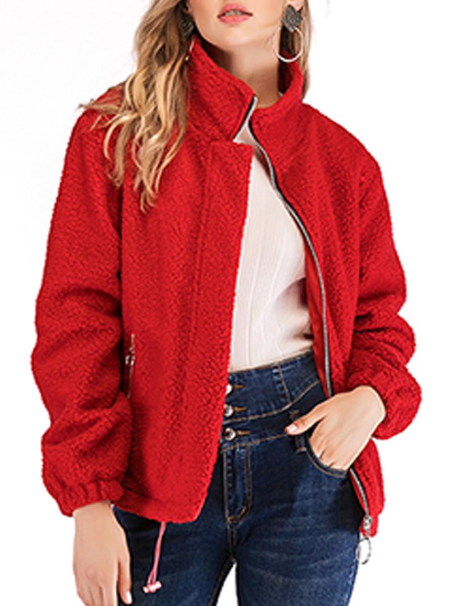 Hooded Drawstring Zips Plain Long Sleeve Jacket