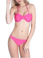 Halter-Hollow-Out-Plain-Bikini