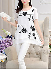 Spring Summer  Polyester  Women  Round Neck  Asymmetric Hem  Embroidery Floral Printed  Short Sleeve Blouses