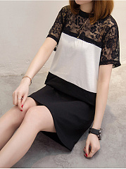 Round Neck  Color Block Lace Shift Dress