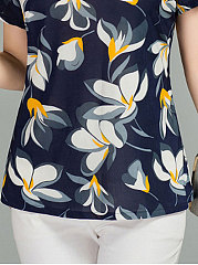 Summer  Polyester  Women  Round Neck  Floral Short Sleeve T-Shirts